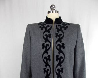 Vintage Sasson Gray Wool Jacket Folk Inspired