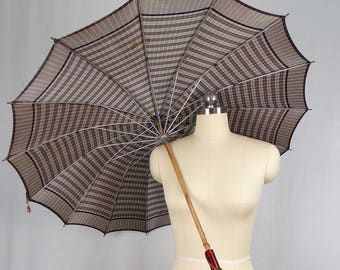 Vintage Gray Plaid Umbrella Parasol