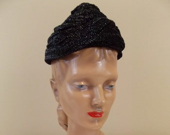 Black Raffia Coolie Hat by Miss Sally Victor
