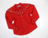 Vintage Red Western Wear Shirt with Kachina Figures