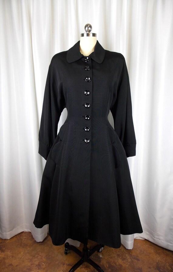 1940's Black Dress Coat New Look