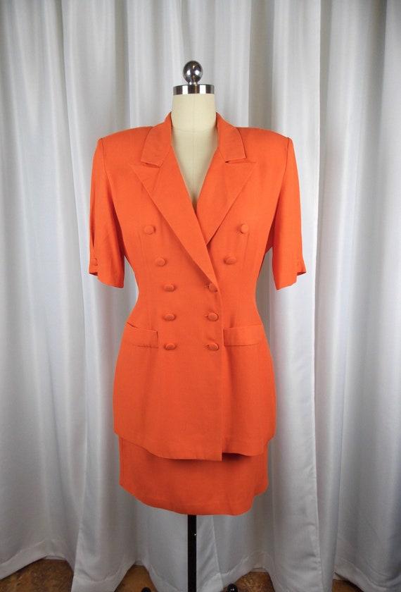 1980's Bright Orange Two Piece Skirt Suit