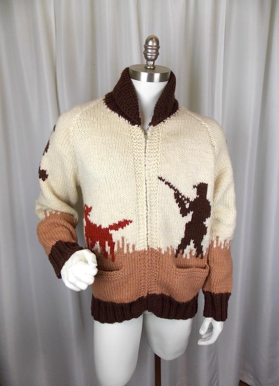 1950s 1960s Mens Wool Cardigan Sweater Cowichan Ph