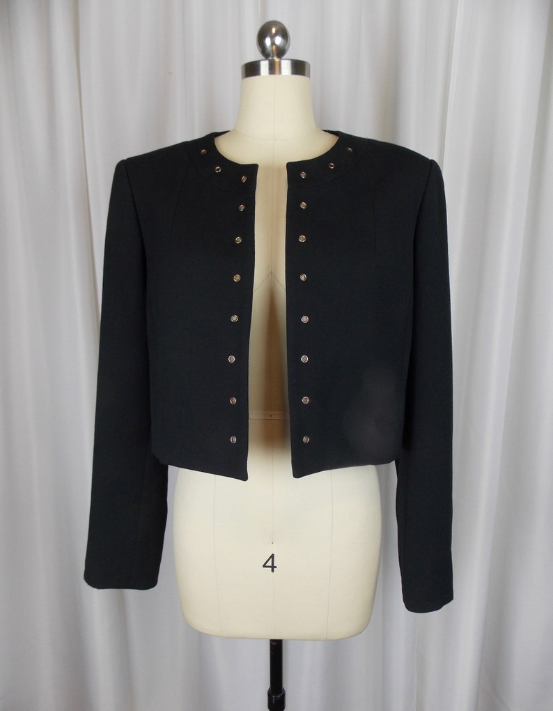 Eyelet Trimmed Crop Jacket Blazer Black Wool Blend Size 10