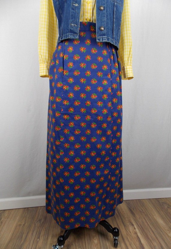 1970's Maxi Skirt in Blue Floral Corduroy