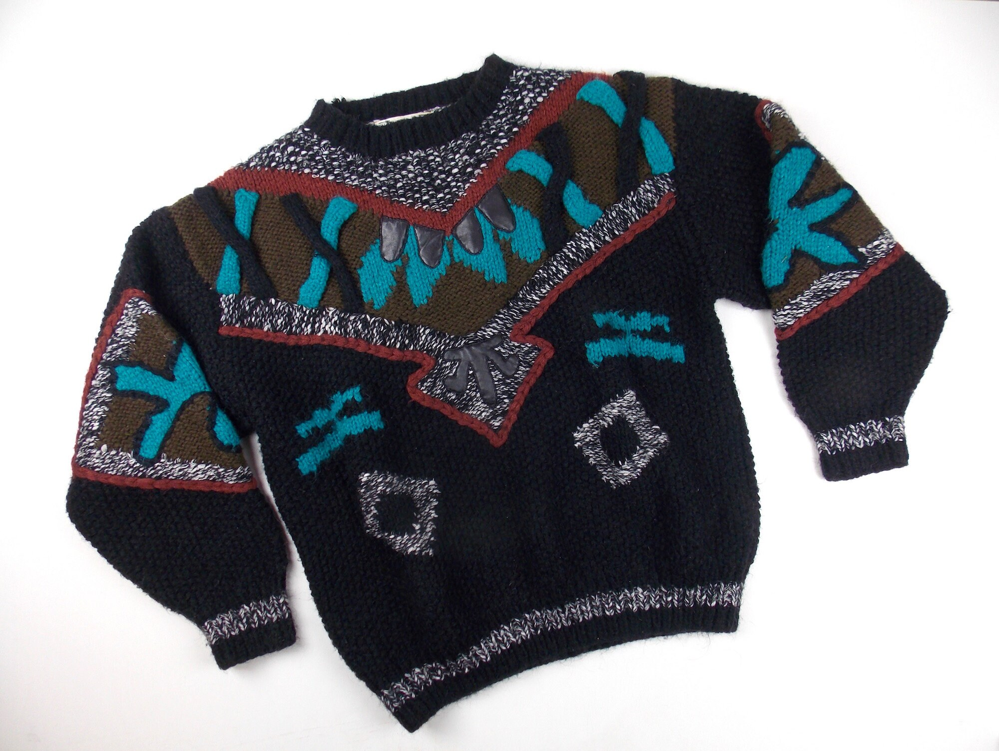 80s Sweatshirts, Sweaters, Vests | Women 1980s Bulky Knit Sweater Mens Unisex Large New Wave Mohair Blend $48.00 AT vintagedancer.com