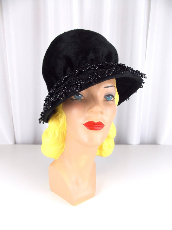 Christian Dior Hat Cloche Bucket Cap 1960's Black