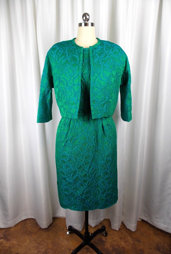 NOS Green and Blue Dress and Jacket Set 1960's Wig