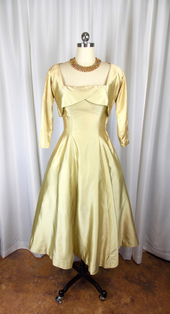 1950's Gold Satin Evening Dress