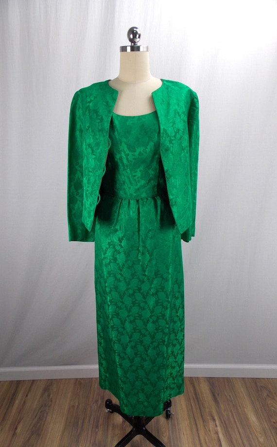 Bright Green Wiggle Dress and Matching Jacket 1950