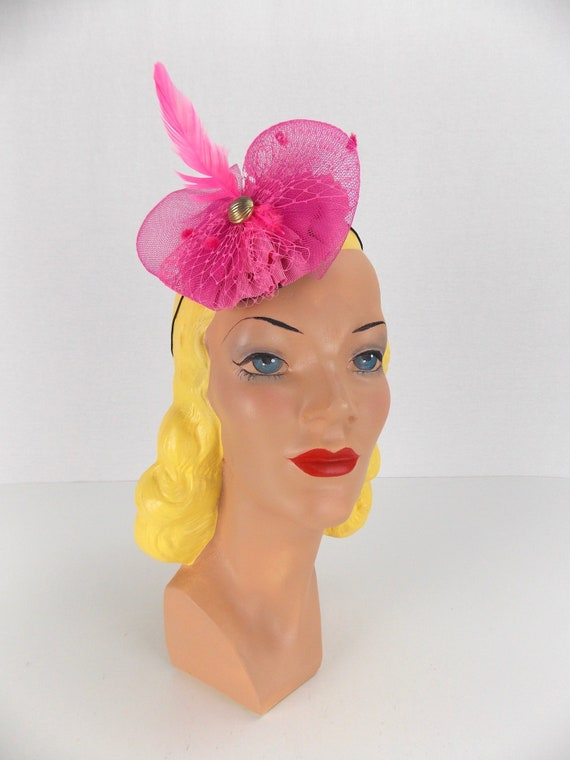 Bright Pink Fascinator Selima by V