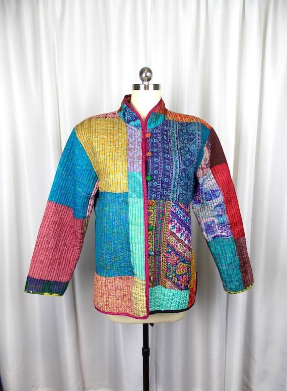 Quilted Patchwork Silk Jacket Medium