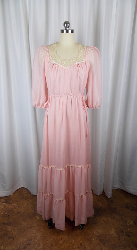 1970's Pink Full Length Dress Boho Gunne Sax Style