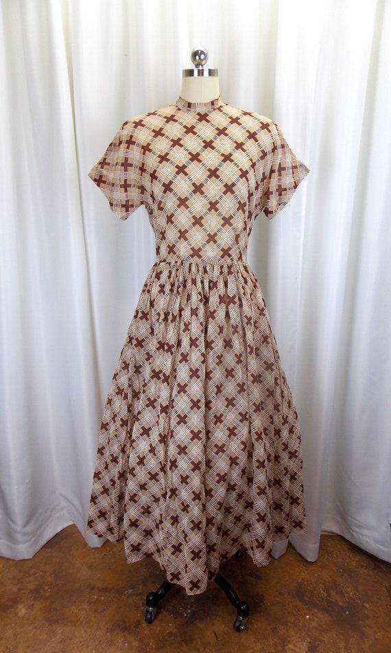 1950's 1940's Day Dress Semi Sheer Brown