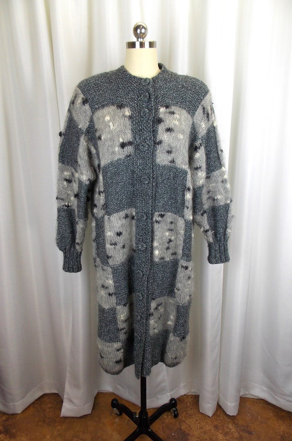 Gray Long Sweater Cardigan Jacket Duster Quilted P