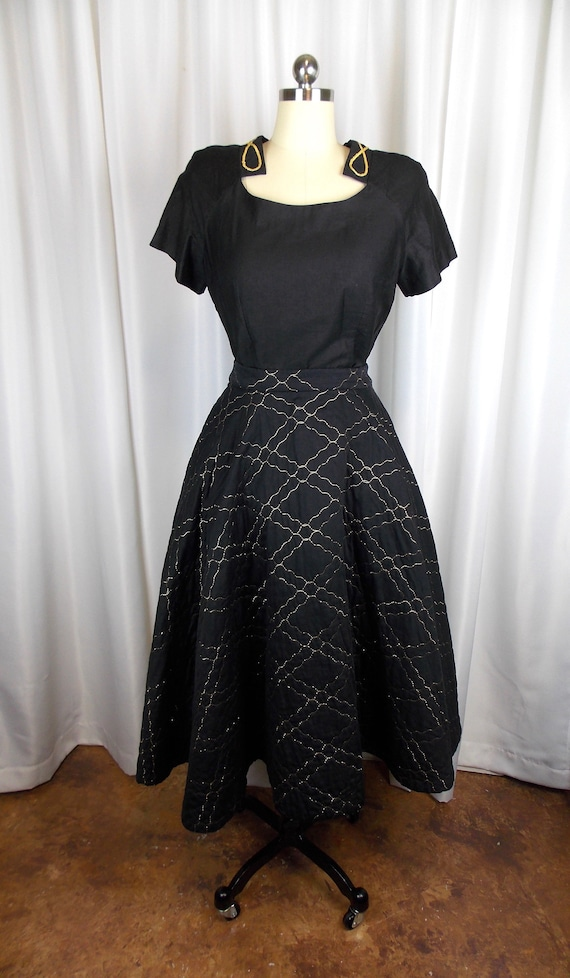 1950's Quilted Circle Skirt with Matching Blouse B