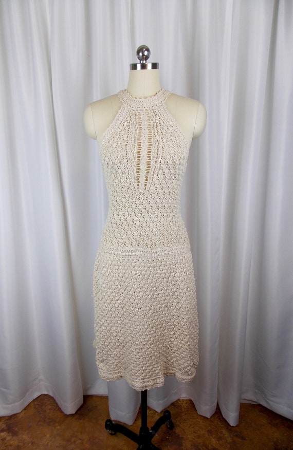 1970's Crochet Dress Halter Sleeveless