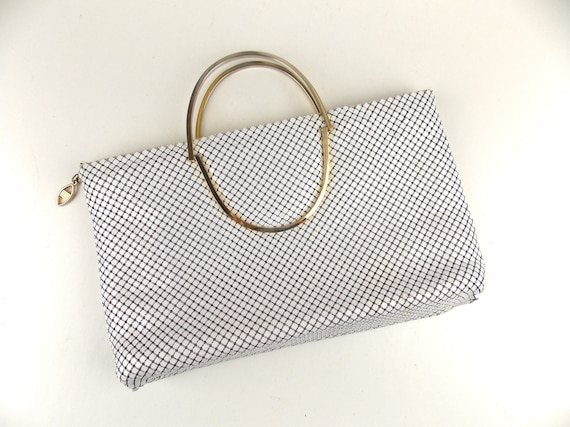 White Mesh Convertible Handbag Clutch 1990's