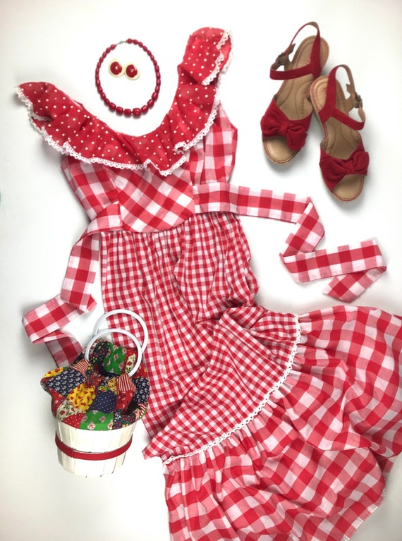 1970's Maxi Dress Red Checkered Gingham Young Inno