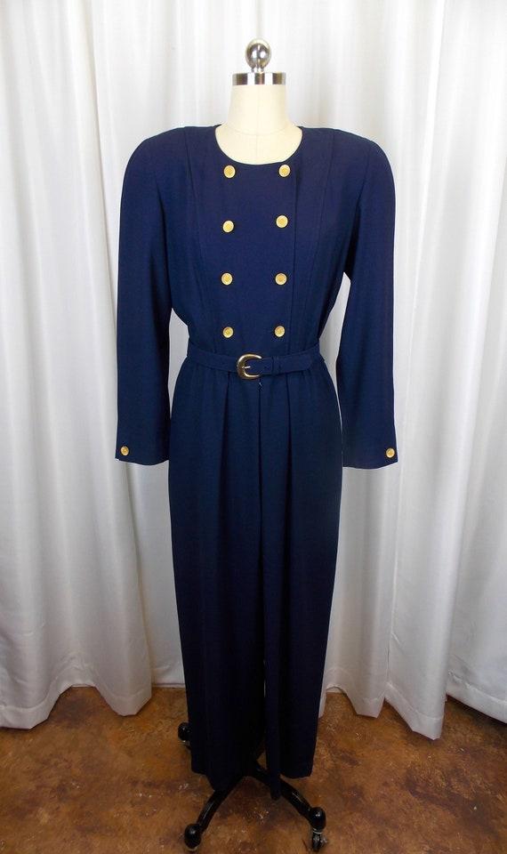Liz Claiborne Jumpsuit Navy Blue 1980's