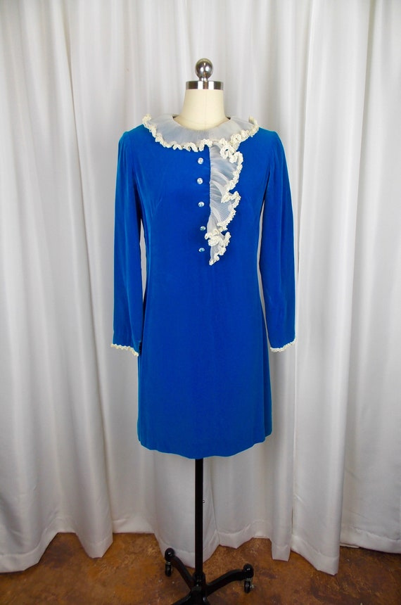 Gay Gibson Blue Velvet Mini Dress 1960's 1970's