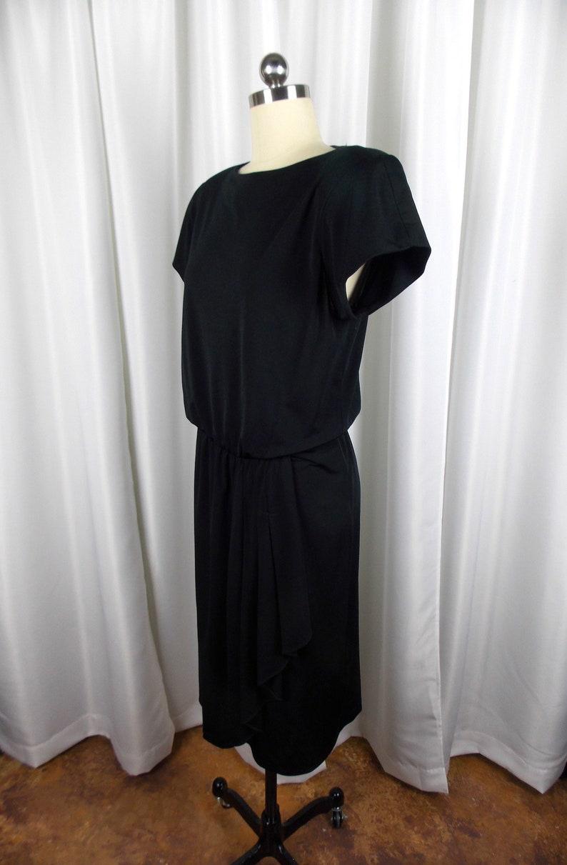 1980/'s Black Knit Dress Short Sleeve With Draped Waist Detail