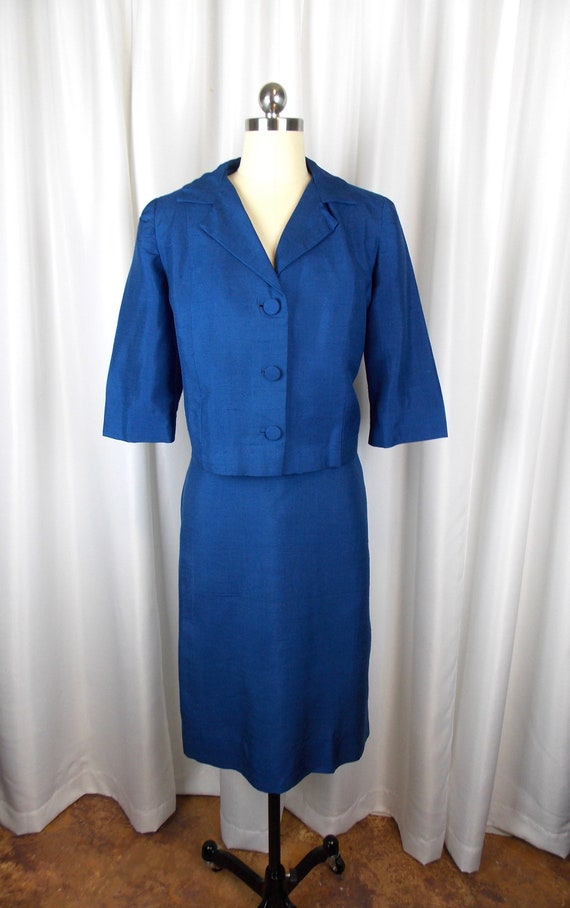 1950's Two Piece Silk Suit Skirt and Jacket Blue