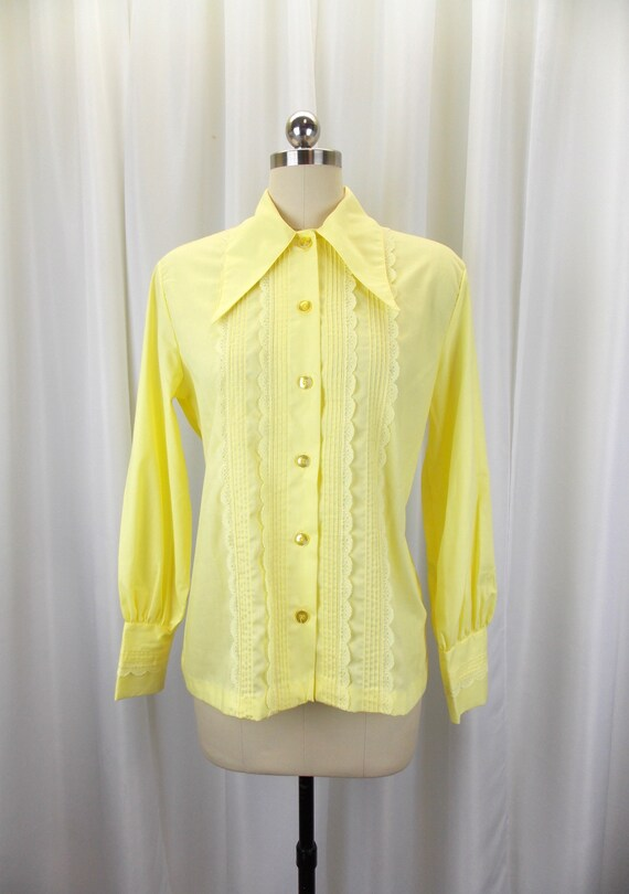 1970's Womens Blouse Statement Collar NOS Long Sl… - image 1