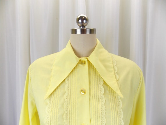1970's Womens Blouse Statement Collar NOS Long Sl… - image 3