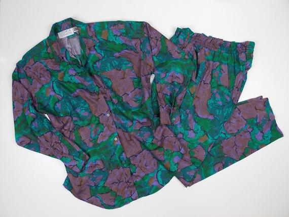 1990's Pant Suit Set Two Pieces Purple Green
