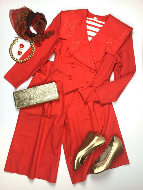 Bright Red Two Piece Pant Suit Gauchos and Crop Ja