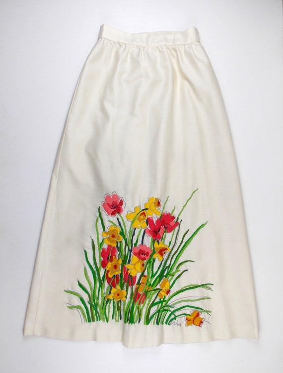Vera Neuman Embroidered Hostess Wrap Skirt 1970's