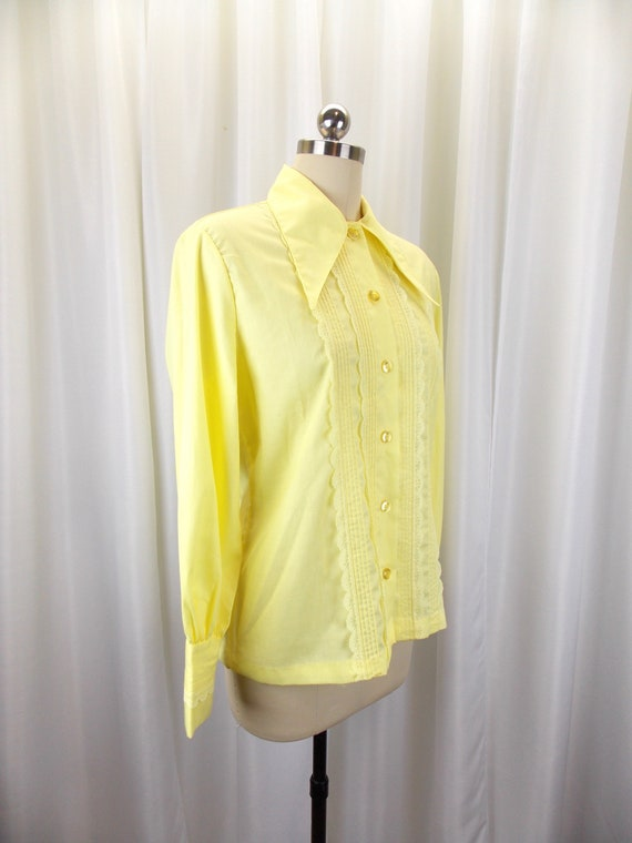 1970's Womens Blouse Statement Collar NOS Long Sl… - image 4