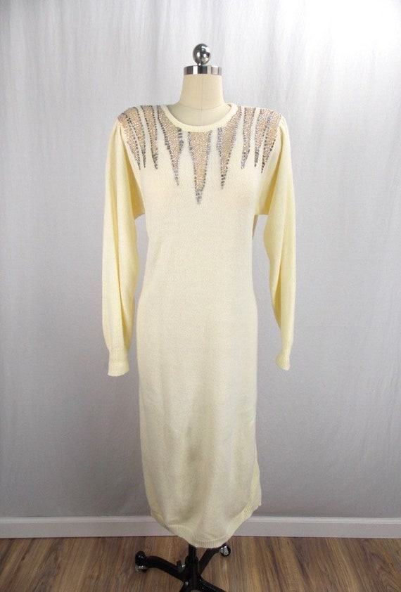 Ivory and Sequins Sweater Dress 1980's