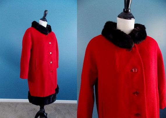 1960's Red Wool Coat with Black Fur Trim Parkmoor