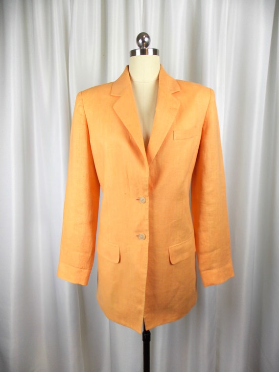 Melon Orange Linen Blazer Jacket Ellen Tracy Size