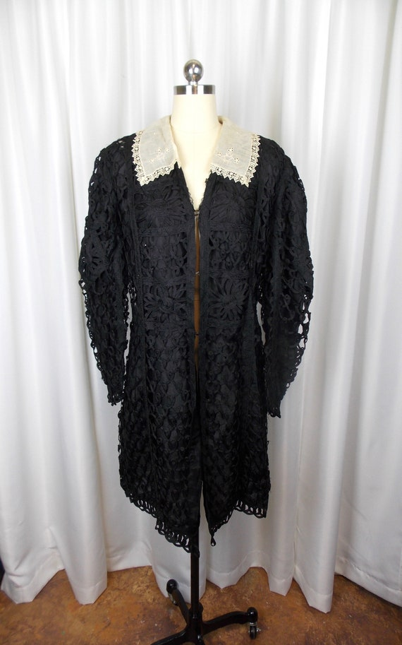 1910's Edwardian Woman's Coat Jacket Silk and Tape