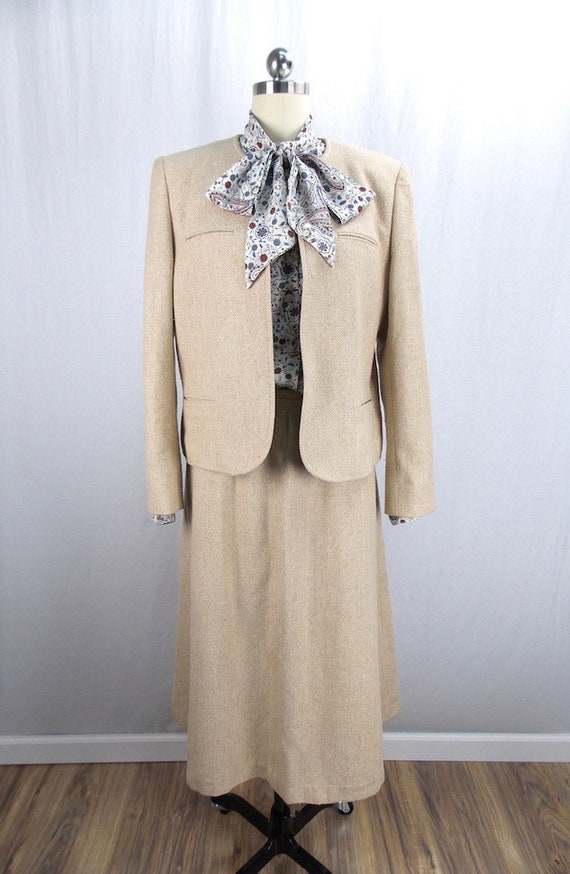 Two Piece Skirt Suit Herringbone Tweed Beige