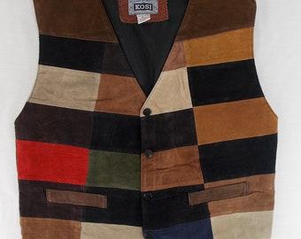 Suede Leather Patchwork Vest