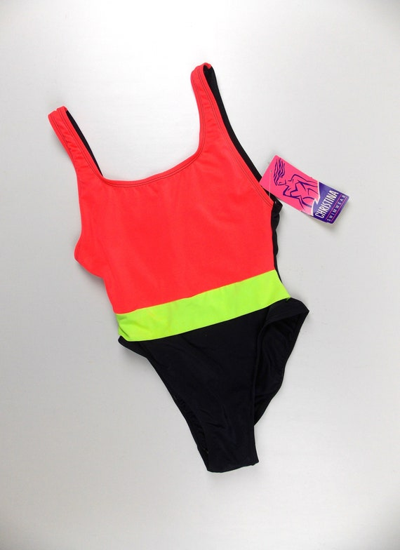 Neon and Black Swimsuit NOS 1990's One Piece Maill