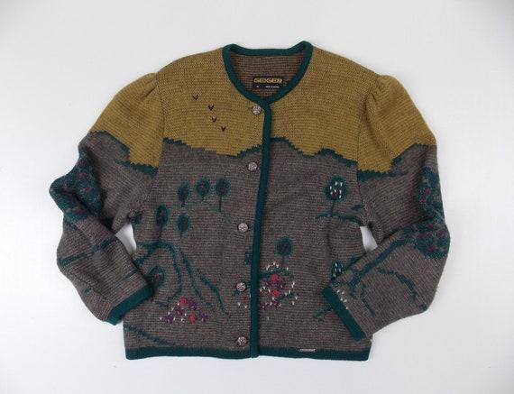 Austrian Wool Cardigan Sweater Geiger Gray Size 38