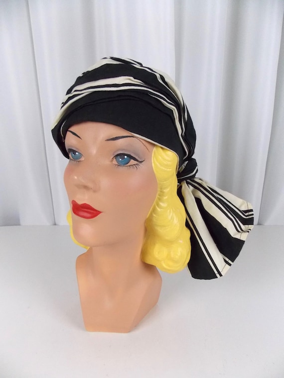 Black and White Turban Hat Bill Atkinson  f65c6f4262b