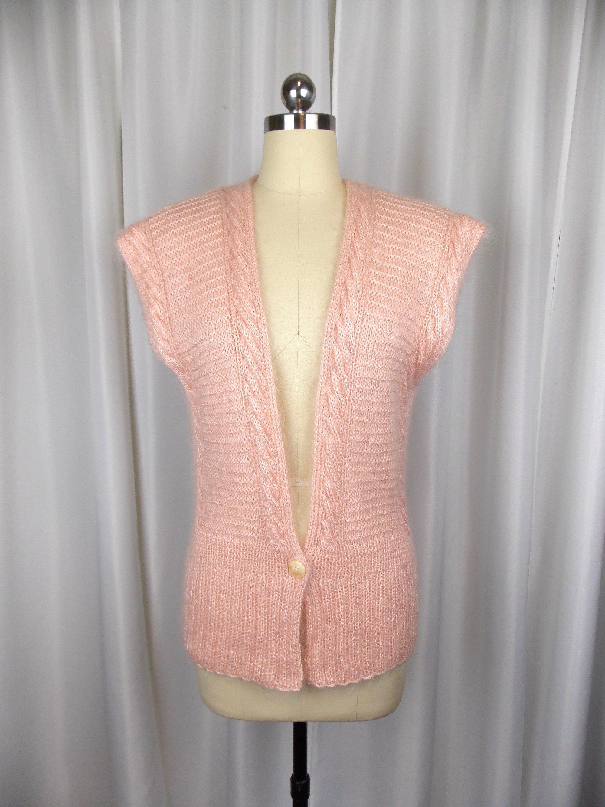 80s Sweatshirts, Sweaters, Vests | Women Pink Sweater Vest Linda Allard For Ellen Tracy Size S 1980s 1990s $38.00 AT vintagedancer.com