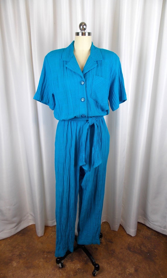 1980's Jumpsuit Teal Cotton Saint Germain Size Sma