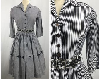 1950's Black and White Striped Cotton Dress