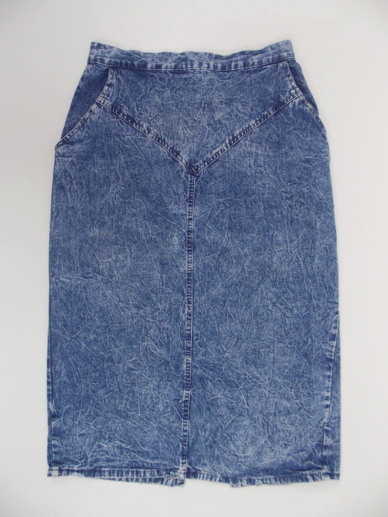 7245a44fb 1980's Acid Wash Denim High Waisted Pencil Skirt 100% | Etsy