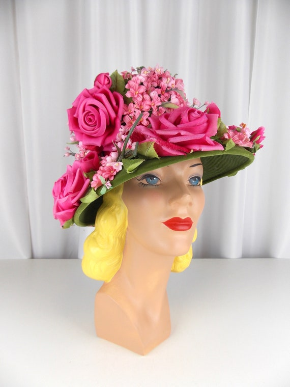 Flower Covered Hat 1960's Cathay of California Lab