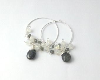 Labradorite and Moonstone Gemstone Sterling Silver Hoop Earrings