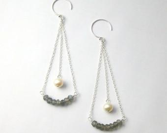 Labradorite Gemstone and Pearl Sterling Silver Dangle Earrings