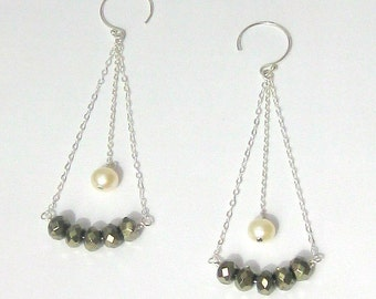 Pyrite and Pearl Sterling Silver Dangle Earrings